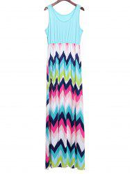 Bohemian Scoop Neck Zigzag Sleeveless Dress For Women