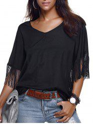 Trendy V-Neck Fringe Design Short Sleeve Blouse For Women