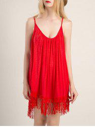 Spaghetti Strap Fringe Design Flapper Dress
