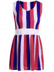 Stylish V-Neck Sleeveless Striped Colored A-Line Bowkont Women's Dress