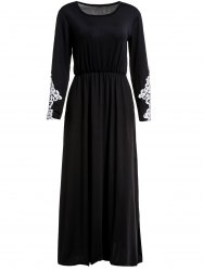 Stylish Scoop Collar Long Sleeve Appliques Design Women's Maxi Dress -