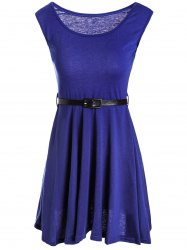 Sexy U Neck Sleeveless Pure Color Women's Sundress - SAPPHIRE BLUE