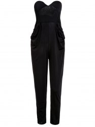 Stylish Strapless Sleeveless Pocket Design Solid Color Women's Jumpsuit - BLACK