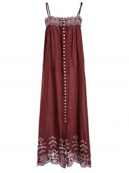 Ethnic Style Sleeveless Spaghetti Strap Embroidered Women's Dress -
