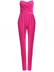 Sexy Strapless Sleeveless Solid Color Pocket Design Women's Jumpsuit