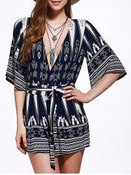 Plunging Neck Self Tie Hollow Out Women's Romper -