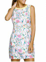 Chic Round Neck Sleeveless Floral Print Spliced Slimming Women's Dress - WHITE XL