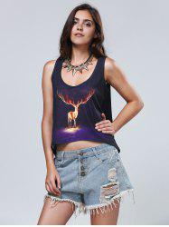 Elk Pattern Scoop Neck Tank Top