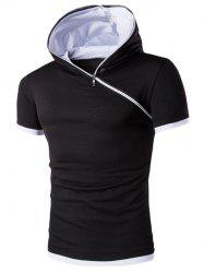 Hooded Solid Color Zipper Design Short Sleeve T-Shirt For Men - WHITE AND BLACK