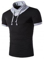 Stand Collar Solid Color Short Sleeve T-Shirt For Men -
