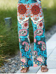 High Waist Colorful Damask Printed Wide-Leg Palazzo Pants