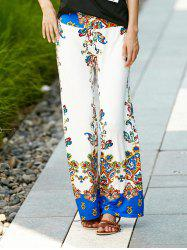 Palazzo Ethnic Floral Pants - WHITE M