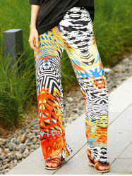 Colorful Ethnic Print Wide Leg Palazzo Pants