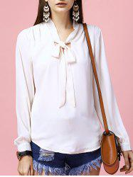 Fashionable Long Sleeve Bowknot Tie Solid Color Women's Blouse