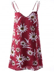 Fashionable Printing Spaghetti Straps Dress For Women - COLORMIX S