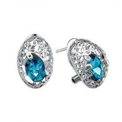 Pair of Delicate Cut Out Flower and Oval Faux Gem Earrings For Women -