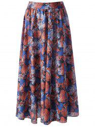Palm Leaf Flowy Midi Beach Skirt - COLORMIX