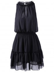 Women 's  Trendy Cut Out Dress Imprimer - Noir L