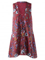 Fashionable Printing Bind Sleeveless Dress For Women
