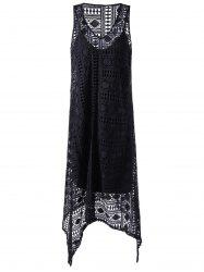 Sleeveless Lace Openwork Asymmetrical Dress - BLACK