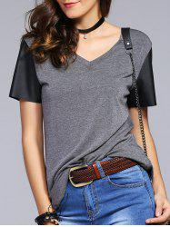 Fashionable V-Neck Color Block Metal Decoration T-Shirt For Woman