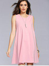Cut Out Swing Casual Shift Dress - LIGHT PINK XL