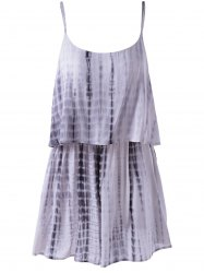Spaghetti Strap Tie Dye Romper - GREY AND WHITE