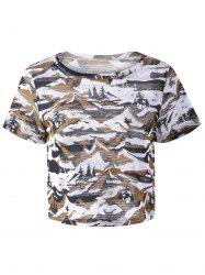 Fashionable Round Neck Short Sleeve Camouflage T-shirt