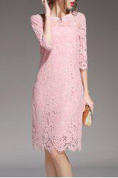 Lace Knee Length Party Dress -