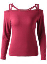 Women's Stylish Pure Color Cut Out Long Sleeve T-Shirt -