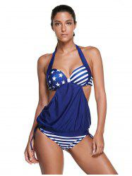 Halter Backless American Flag Tankini - BLUE 2XL