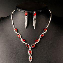 A Suit of Rhinestoned Faux Ruby Wedding Jewelry Set - RED