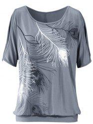 Casuall Short Sleeve Scoop Neck Feather Print Women's T-Shirt - GRAY