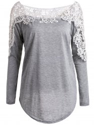 Casual Hollow Out Lace Spliced Long Sleeve T-Shirt