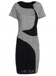 Noble Scoop Collar Short Sleeve Gingham Spliced Women's Bodycon Dress