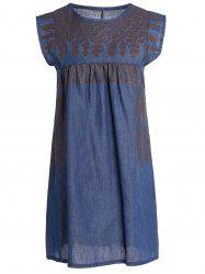 Stylish Round Collar Sleeveless Chambray Women's Dress -