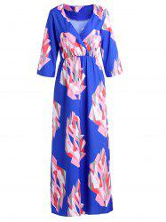 Elegant V-Neck 3/4 Sleeve Geometric Print Women's Maxi Dress