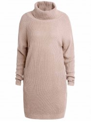 Stylish Turtle Collar Long Sleeves Solid Color Women's Jumper - LIGHT APRICOT