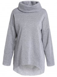 Stylish Cowl Neck Long Sleeve High Low Hem Women's Sweatshirt