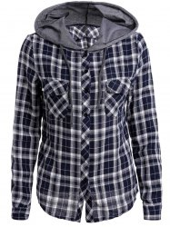 Casual Hooded Plaid Printed Long Sleeve Buttoned Hoodie For Women -