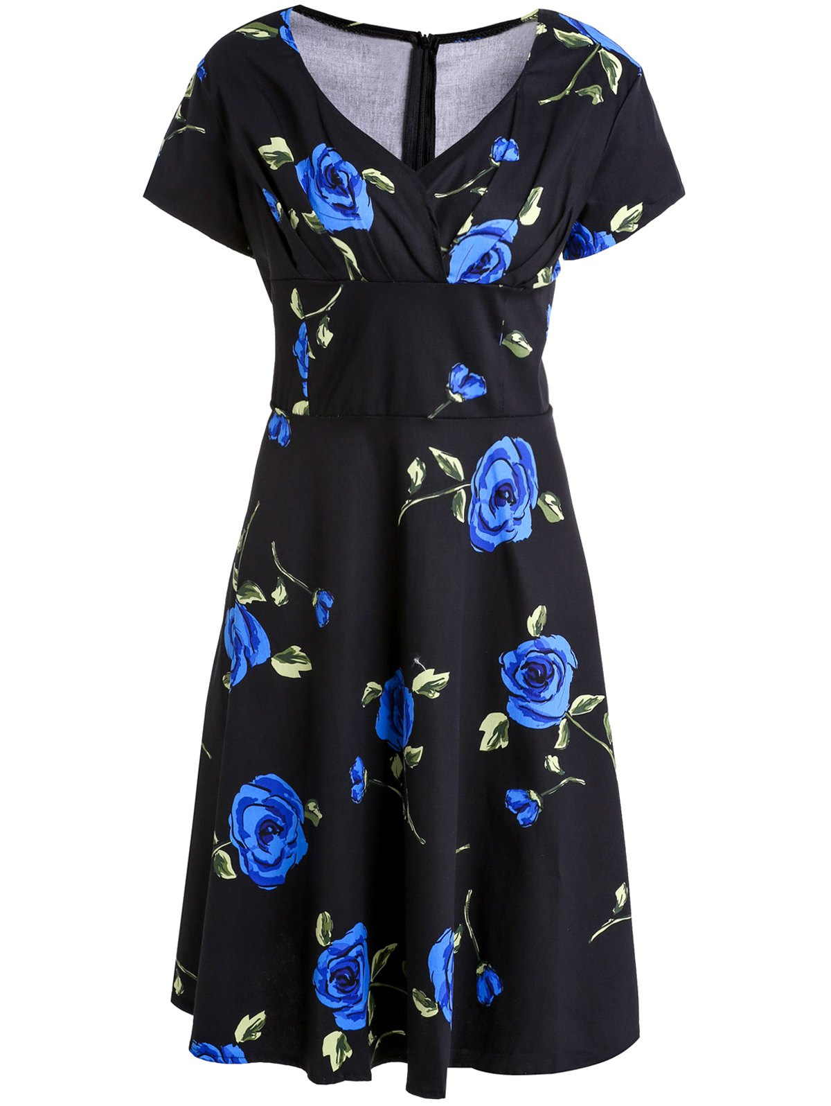 Outfits Vintage Style Sweetheart Neck Short Sleeve Flower Pattern Ruched Women's Dress