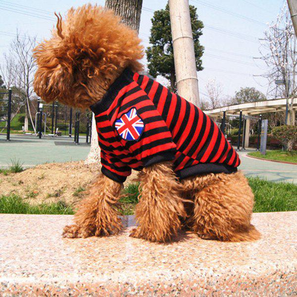 Trendy Fashion Striped Design The British Flag Embellished T-Shirt For Dogs