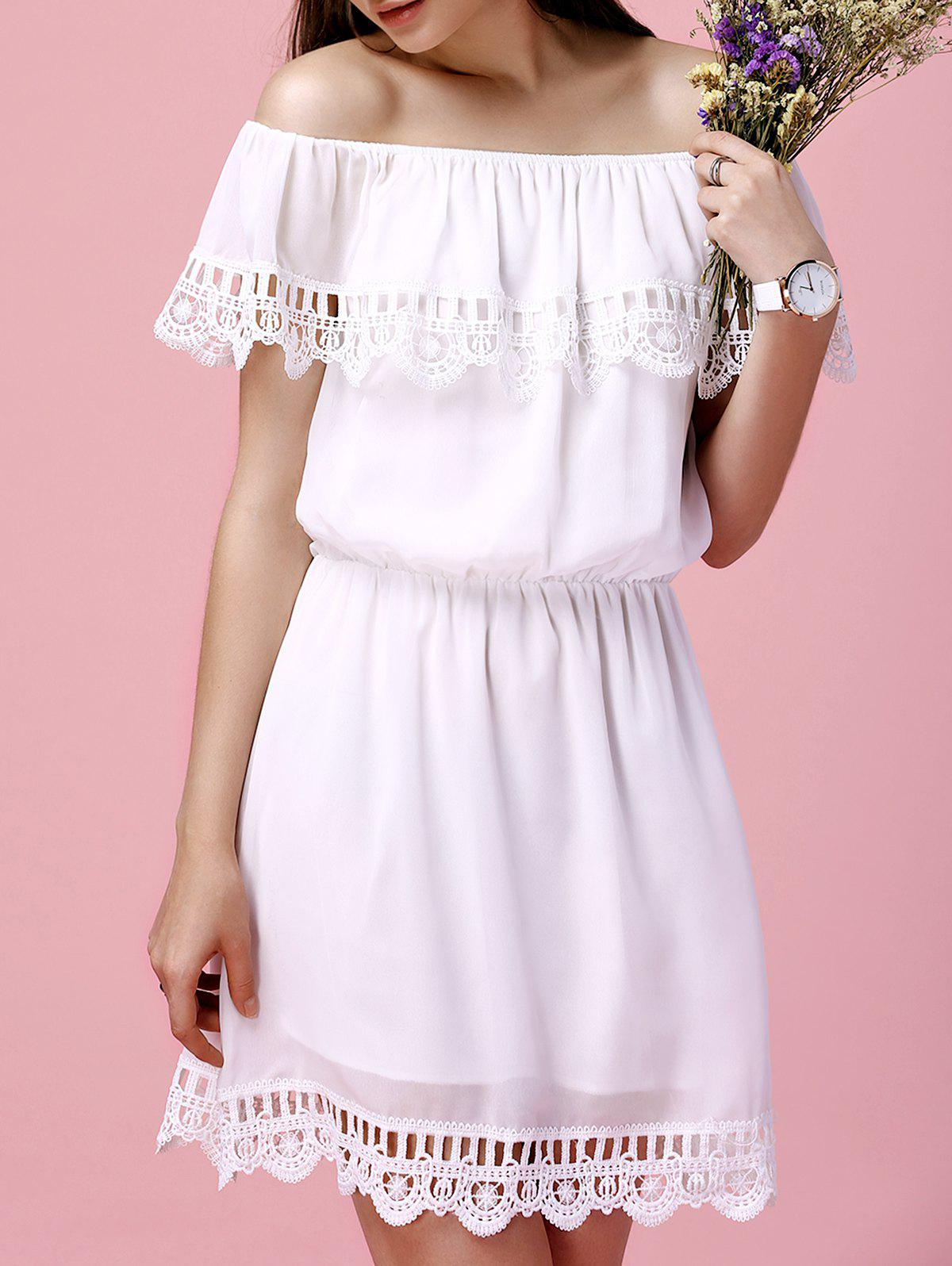 Latest Off The Shoulder Flounce Crochet Trim Chiffon Dress