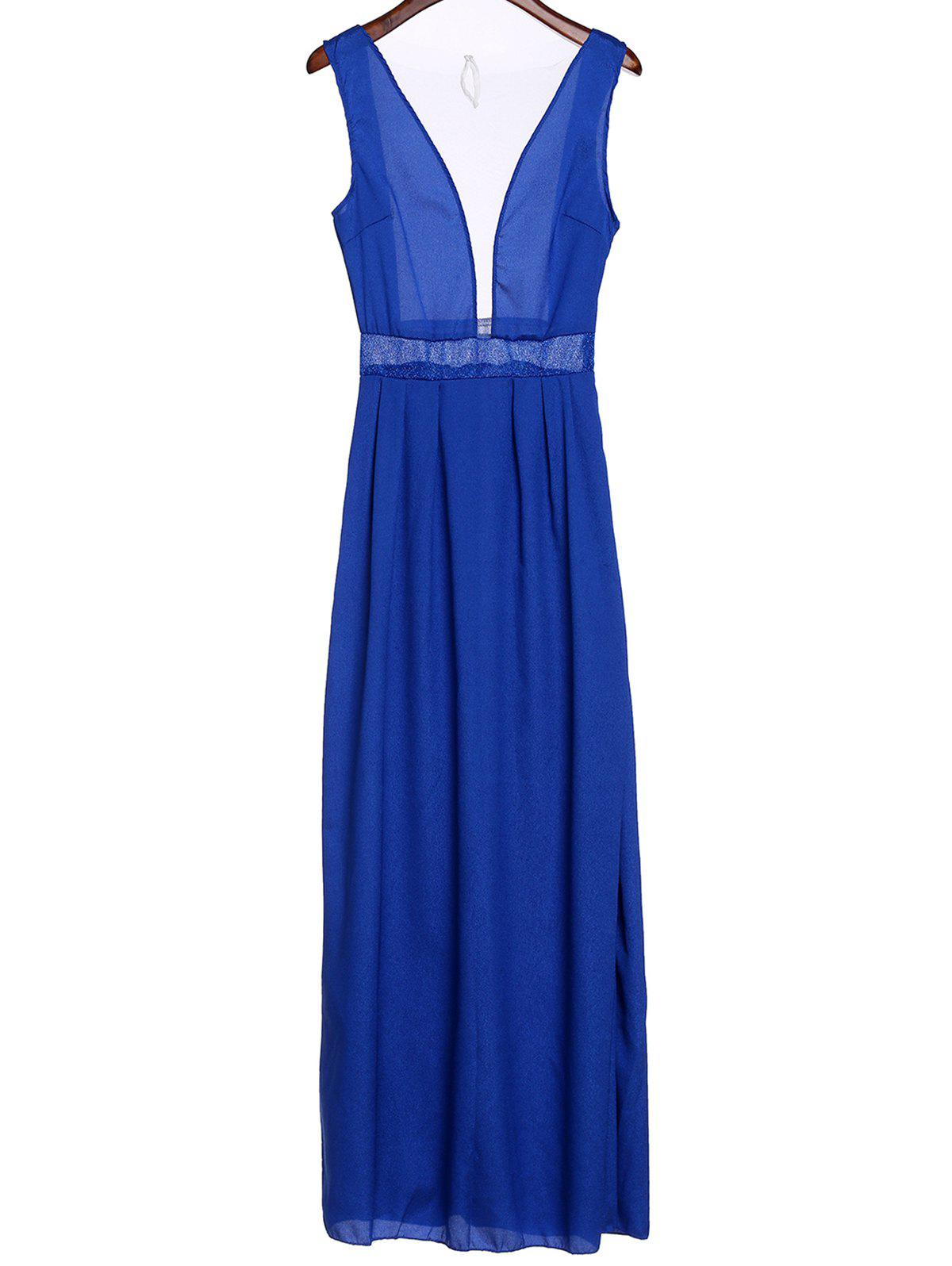 New Sexy Plunging Neck Sleeveless See-Through Spliced Women's Prom Dress