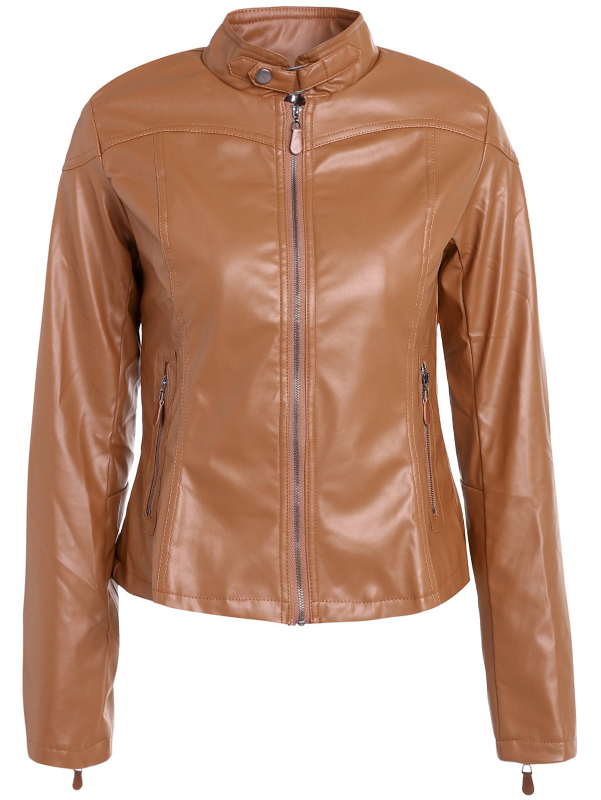 Store Chic Stand Collar Long Sleeve Zipper Design Faux Leather Women's Jacket