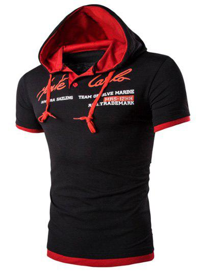 Outfit Hooded Solid Color Letter Printed Short Sleeve T-Shirt For Men