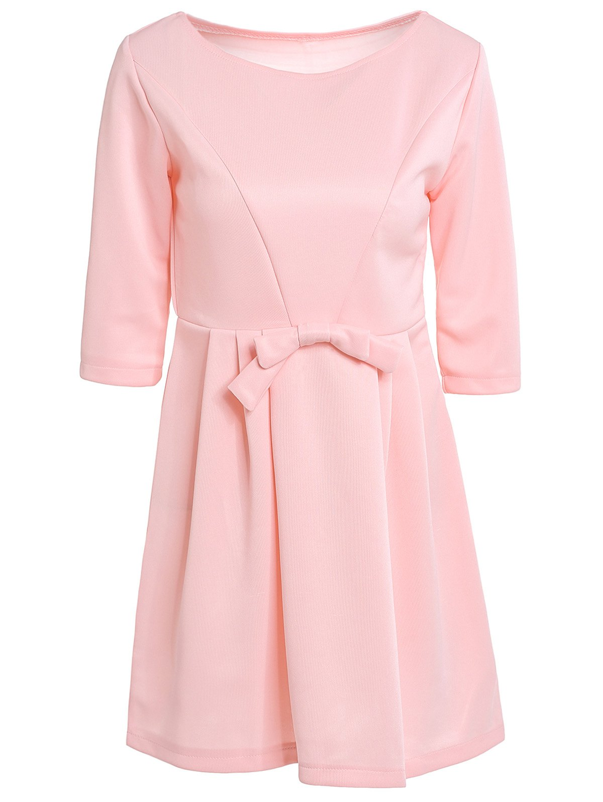 Outfit Women's Chic Jewel Neck 3/4 Sleeve Solid Color Bowknot Decorated Dress
