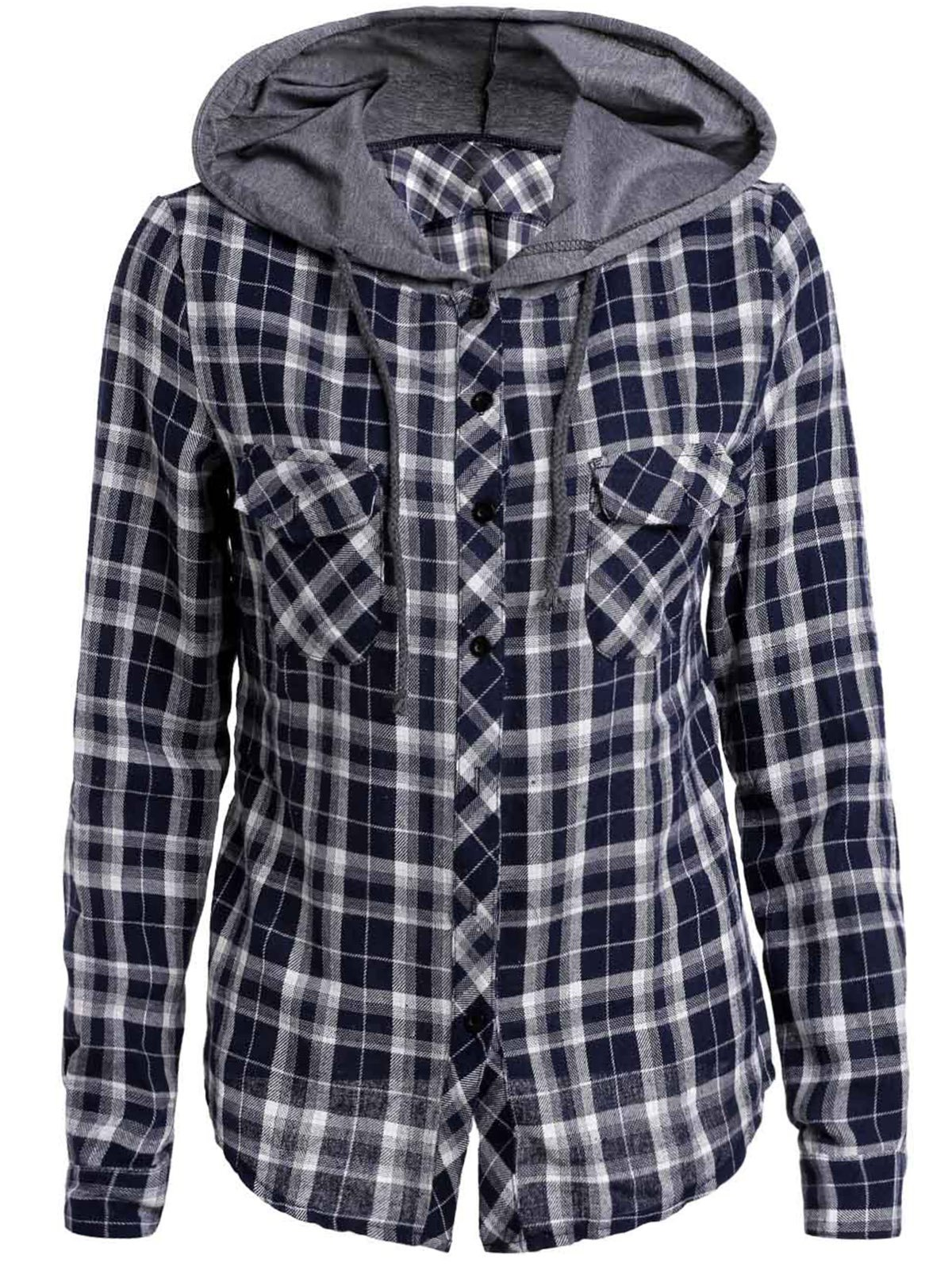 Sale Casual Hooded Plaid Printed Long Sleeve Buttoned Hoodie For Women