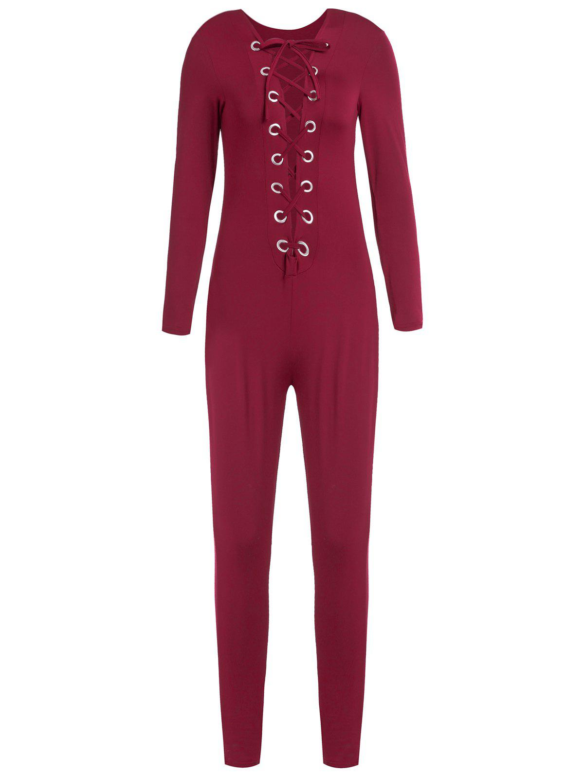 Shop Sexy Round Neck Long Sleeve Hollow Out Slimming Women's Jumpsuit