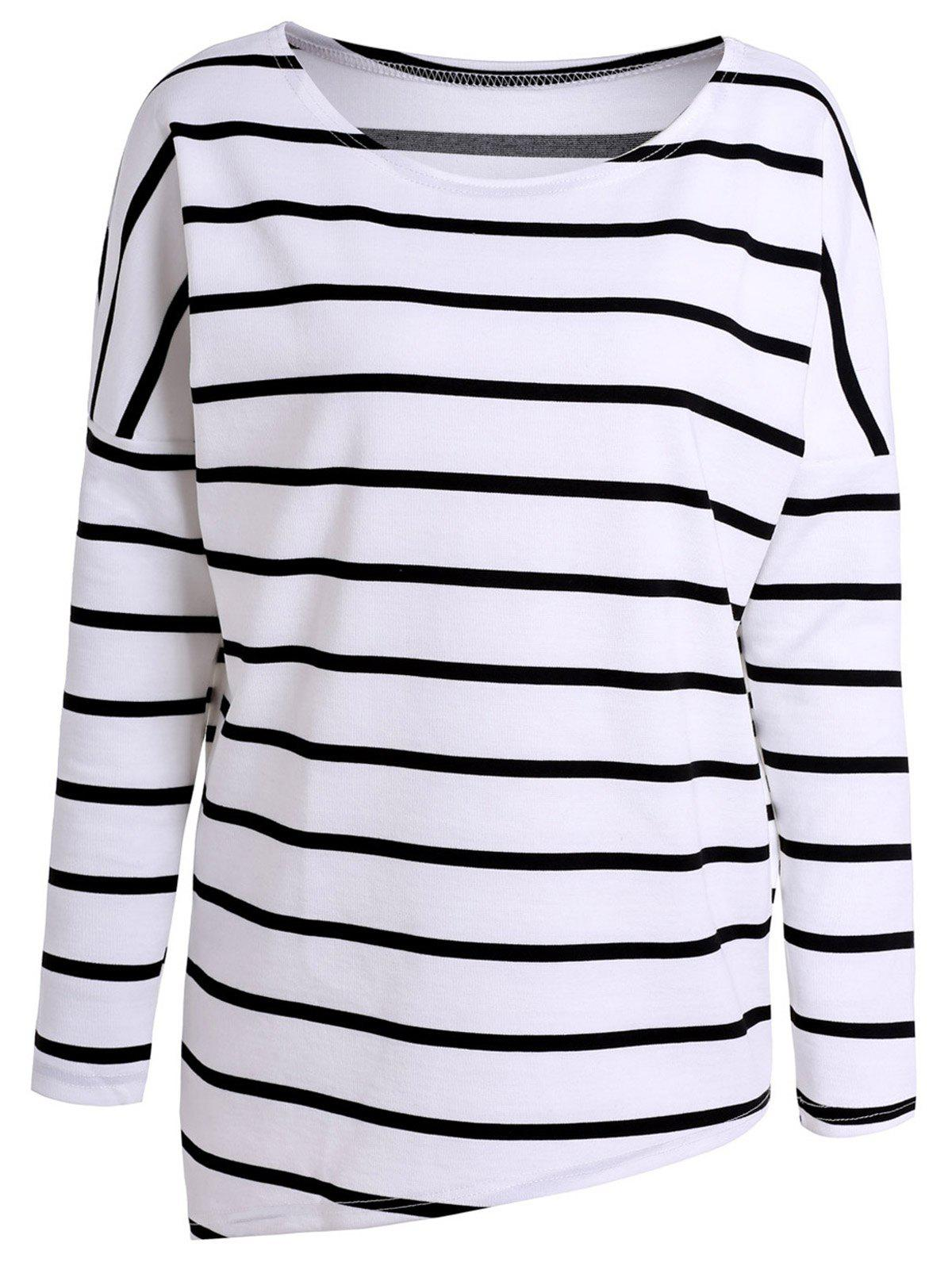 Fashion Simple Style Scoop Neck Long Sleeve Striped T-Shirt For Women